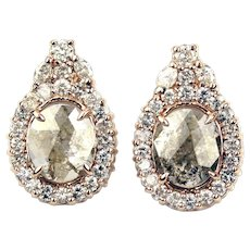 5CT Rose Cut and Marquise Diamonds Earrings 14KT Rose Gold Earrings