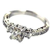 Tacori Natural Princess Cut Diamond Engagement Ring or Wedding Band in Platinum