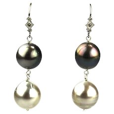 Genuine Cultured Platinum and Steel Tahitian Pearls and Diamonds Earrings 14KT White Gold