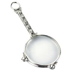 Platinum Diamonds Art Deco Lorgnette or Opera Glasses Pendant