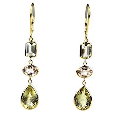 11.5 CT Morganite, Yellow Beryl and Aquamarine Earrings 18KT Yellow Gold