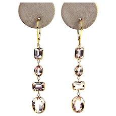 14 CT Morganite Earrings 18KT Yellow Gold
