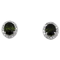 3CT Natural Chrome Green Tourmaline with Diamonds Earrings 14KT Gold