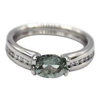 Rare Paraiba Blue Tourmaline and Diamond Ring in 14KT White Gold