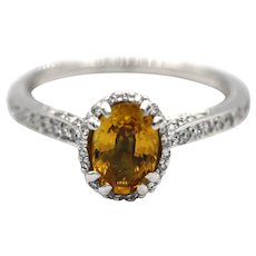 1.5CT Tacori Natural Oval Cut Yellow Sapphire Diamond Engagement Ring or Wedding Band in Platinum