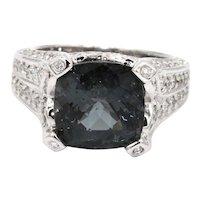 Rare Grey Blue Paraiba Tourmaline and Diamond Ring in 14KT White Gold