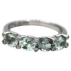 Custom Made Paraiba Blue Tourmaline and Diamond Ring in 18KT White Gold