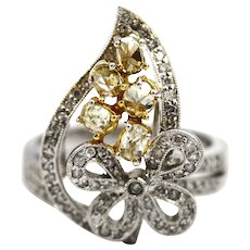 2 CT Elegant Natural Fancy Canary Rose Cut and White Diamond Cocktail Ring in 18KT White Gold