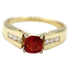 1.5 CT Amazing Natural Padparadscha Pink Red Spinel and Diamond Ring in 14KT Yellow Gold