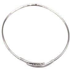 1 CT Modern Italian Diamond Choker Necklace 14KT White Gold