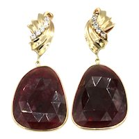 33CT Natural Rubellite Raspberry Pink Tourmaline Rose Cut Earrings 14KT Gold