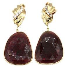 33CT Natural Rubellite Raspberry Pink Tourmaline Rose Cut Earrings 14KT Gold