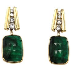 16.5CT Natural Rose cut Colombian Emerald with Diamonds Earrings 14KT Gold