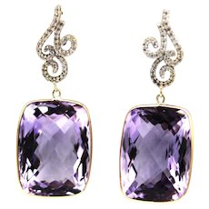 42 CT Unique Rose de France Amethyst and Diamonds Earrings 18KT Gold