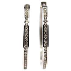 Natural Diamond Hoop Earrings 14KT White Gold