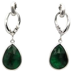 5.3CT Natural Rose cut Colombian Emerald with Diamonds Earrings 14KT Gold