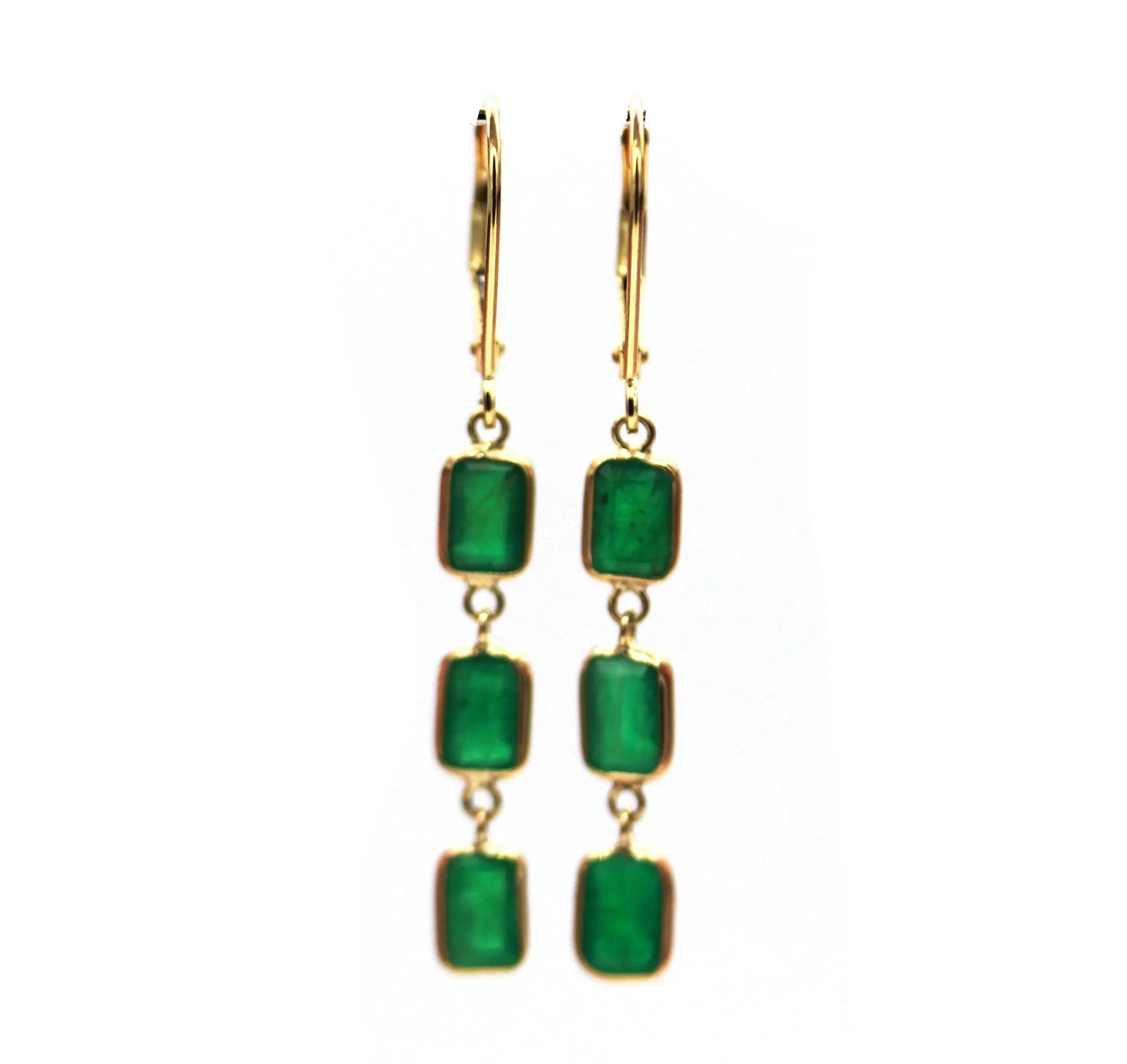 solid natural htm gold earrings topaz emeralds hoop white p emerald ctw earring with