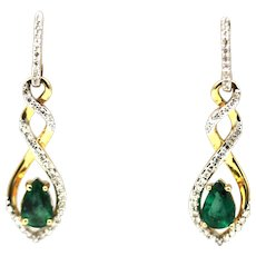 1CT Natural Colombian Emerald and Diamonds Earrings in 14KT Yellow Gold