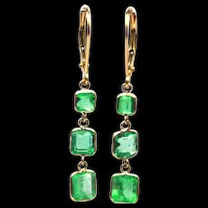4CT Natural Colombian Emerald Earrings in 18KT Yellow Gold