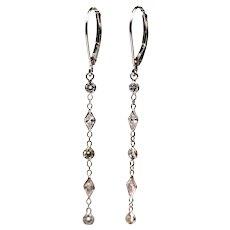 1.5CT Kite and Round Diamond Earrings 14KT White Gold Earrings