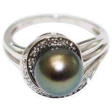 14KT White Gold Natural Tahitian Pearl Diamond Ring