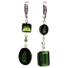 12.5CT Natural Chrome Green Tourmaline and Diamonds Asymmetrical Earrings 14KT White Gold