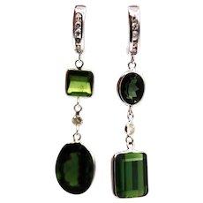 12.5CT Natural Chrome Green Tourmaline and Diamonds Asymmetrical Earrings 14KT White Gold