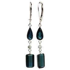5CT Natural Paraiba Blue Tourmaline Diamonds Earrings 14KT White Gold