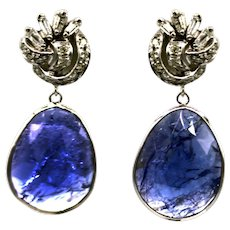 16.6CT Natural Rose Cut Tanzanite and Diamonds Earrings in 14KT White Gold