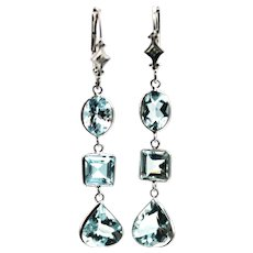 8.5CT  Aquamarine and Diamonds Earrings 14KT White Gold