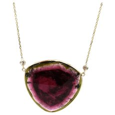 37CT Watermelon Tourmaline Diamond Necklace in 14KT Yellow Gold