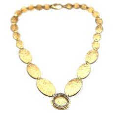 Modern Diamond Circle Choker Necklace 14KT Yellow Gold