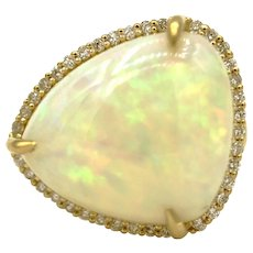 Unique Ethiopian Opal and Diamond Halo Ring in 18KT Gold