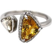 Custom Made Yellow Sapphire and Rose Cut Diamond Engagement Ring or Wedding Band in 18KT White Gold