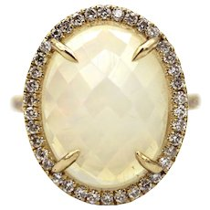 Unique Ethiopian Opal and Diamond Halo Ring in 14KT Gold