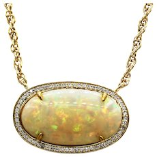 28.5CT Natural Ethiopian Opal Halo Diamond Necklace 18kt Gold
