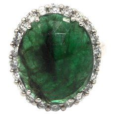 Natural Rose Cut Colombian Emerald and Diamond 14KT White Gold Ring