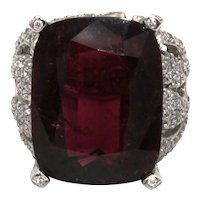 Custom Made 27ct Natural Rubellite Pink Tourmaline and Diamond Ring in 14KT White Gold