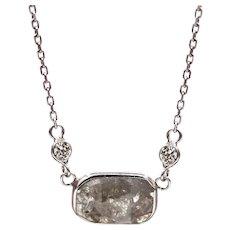 2CT Modern Rose Cut Diamond Necklace 14KT White Gold