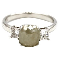 Natural Rose Cut Diamond Engagement Ring in 18KT White Gold