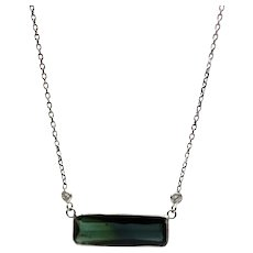 Natural Bi-Color Paraiba Blue Tourmaline Necklace in 14KT White Gold