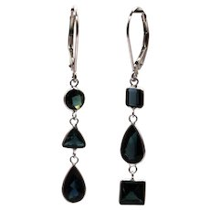 4.12CT Natural Paraiba Blue Tourmaline Asymmetrical Earrings 14KT White Gold