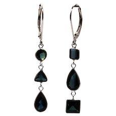 4.12CT Natural Paraiba Blue Tourmaline Asymmetrical Earrings 14KT White Gold