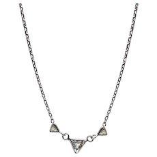 Triple Trillion Cut Diamond Necklace 14KT White Gold