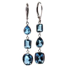 11CT Swiss Blue Topaz Asymmetrical Earrings 14KT White Gold