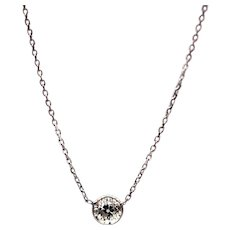 Old mine Diamond Diamond Necklace 14KT White Gold