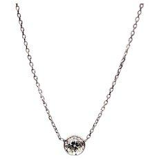 Old mine Diamond Diamond Necklace 14KT White Gold