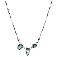 Geometric Paraiba Blue Tourmaline Necklace in 14KT White Gold