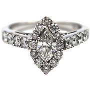Marquise Diamond Engagement Ring or Wedding Band in 14KT White Gold