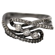 Amazing Natural Diamond Ring in 14KT Gold with Black Rhodium